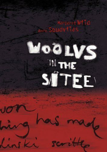 """Picture Book: Woolvs in the Sitee by M. Wild and A. Spudvilas. """"it's a nice creepy little read."""" In a strange and sinister world, Ben is hiding from the """"woolvs"""". His only ally, Missus Radinski, doesn't believe that the """"woolvs"""" exist - until it is too late. Ben must go out and face his fears alone. Shelf Location: PIC F WIL.  2 copies"""