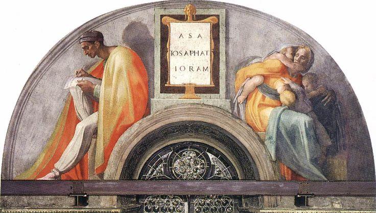 michelangelo lunette cappella sistina -Gli Antenati di Cristo si trovano lungo le sedici lunette (due distrutte, quindi oggi quattordici) e le otto vele. Essi rappresentano le quaranta generazioni anteriori a Gesù  Cerca con Google