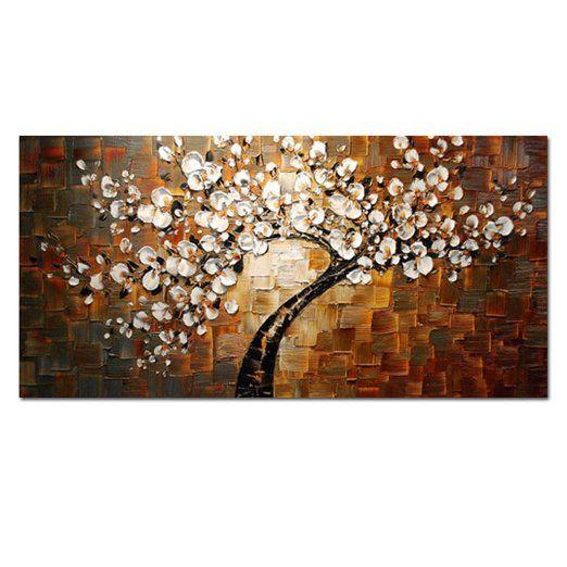H.COZY Soggiorno Pittura Camera Hall Art parete Spatola Big astratta Brown fiori dipinti a mano olio su tela Arredamento casa (Senza telaio)
