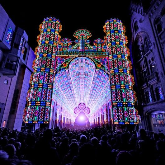 Awesome cathedral created for the 2012 Light Festival in Ghent, Belgium. The structure is about 90 feet tall and composed of 55,000 LEDs.