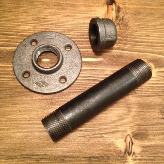 DIY remake of Restoration Hardware's industrial shelving bracket.