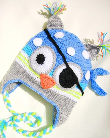 Crocheted children's hat Owl Pirate hat by Svetlanababyknitting