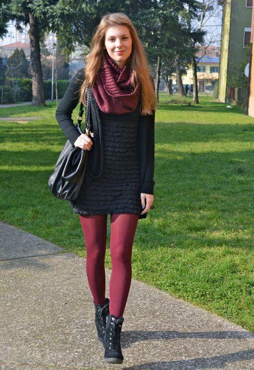 Bordeaux Tights Zara In Dresses H In Scarves Echarpes