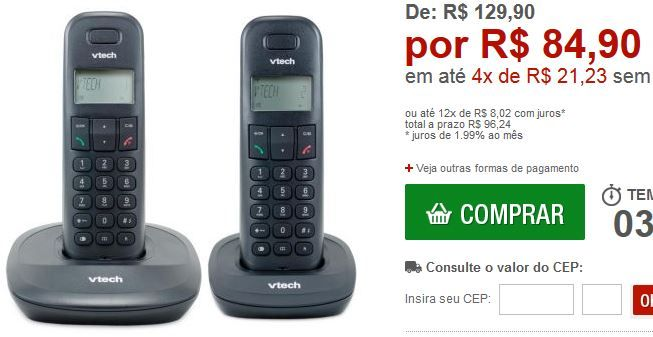 Telefone sem fio  1 Ramal Vtech VT600 Identificador de chamadas Agenda Tecnologia DECT 6.0 << R$ 8490 em 4 vezes >>