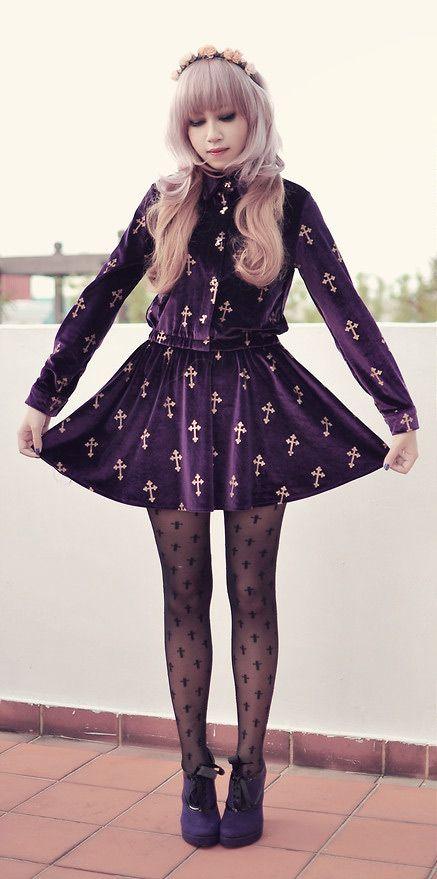 Velvet Crosses: velvet violet cross dress, black cross stockings, purple victorian style ankle booties - By Andrea Ladstätter