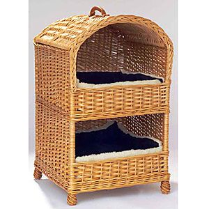 Two Tier Wicker Cat Basket Bed in Natural Willow