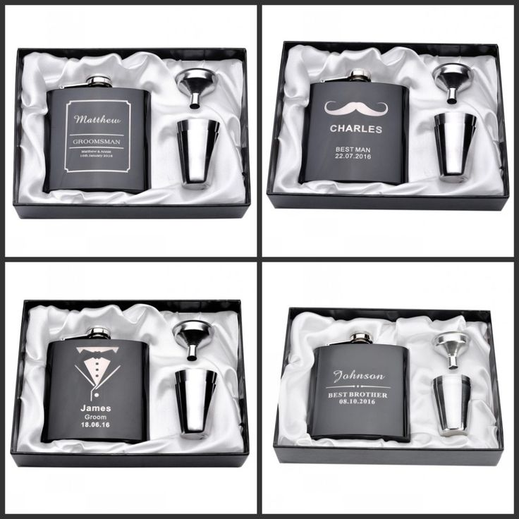 Personalized Engraved 6oz Hip Flask Set Stainless Steel Funnel Gift Box  2 Cups Bride Groom Best Man Usher Wedding Decor Favor snack