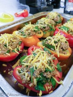 Heart Healthy Stuffed Peppers- I would recommend more of the meat mixture, especially if you have larger sized peppers. Also I'd add less sauce next time because it was too watery after being in the oven that long. Very delicious though!