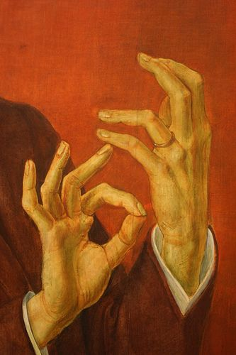 "Otto Dix, detail of hands ""Portrait of the Lawyer Hugo Simons"", 1929 Tempera and oil on wood .  Montreal Museum of Fine Arts? Simons escaped Germany just in time."