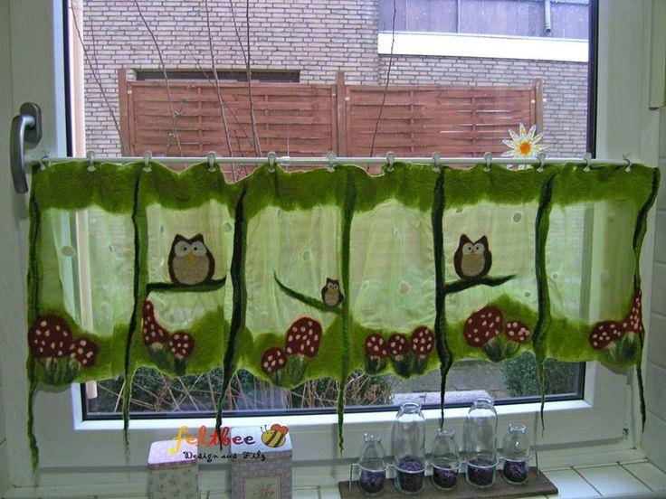 Fenster Gardine Fliegenpilz und Eulen, gefilzt von feltbee - Design aus Filz auf DaWanda.com