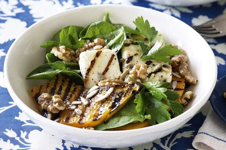 Solve a dinner dilemma with this easy Chargrilled pumpkin and haloumi salad recipe.