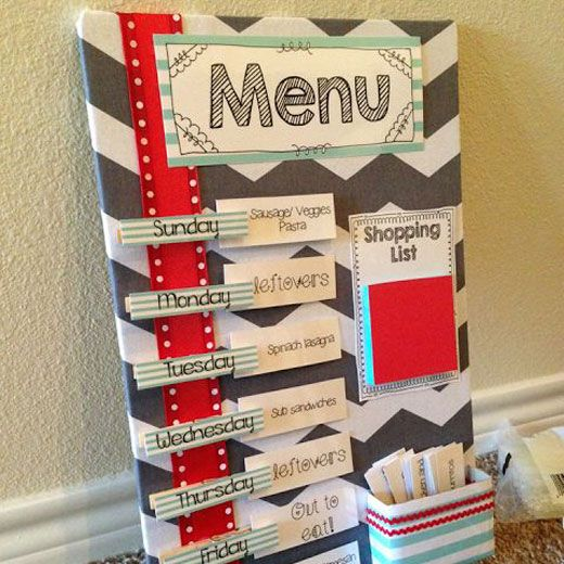 Menu pour la semaine scrapbooking pinterest achats for Scrapbooking cuisine