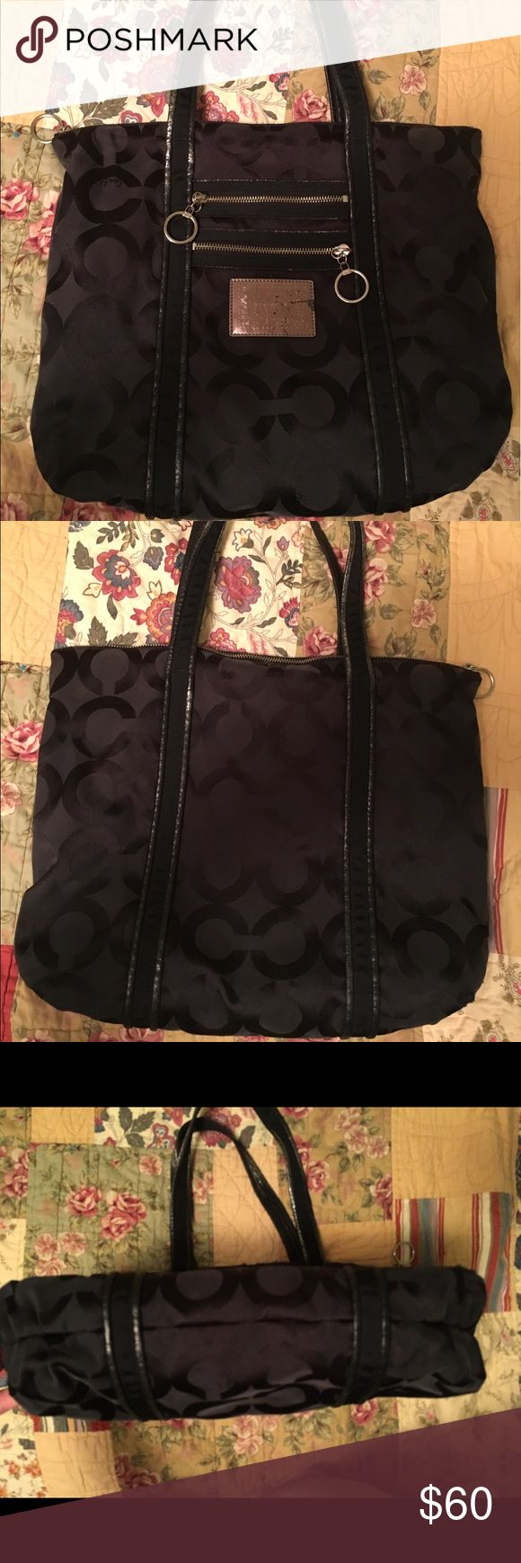 Large Black Coach Tote Bag has been used but still in great shape. Shows some wear on top and around front label as pictured. Inside in excellent condition. Coach Bags