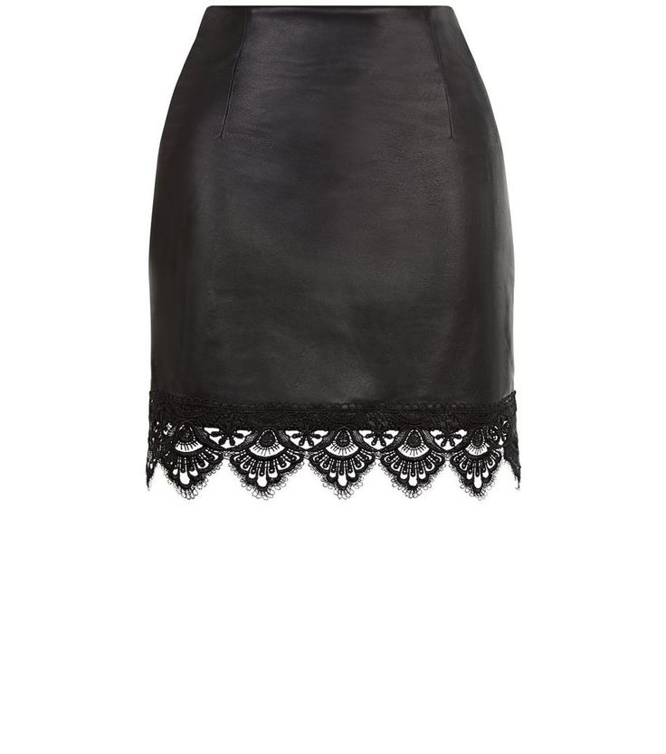Love & Lies Black Leather-Look Lace Trim Skirt | New Look