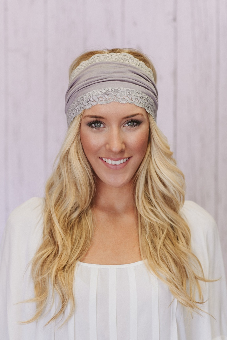 Lacey Jersey Headband Wide Hair Covering in Silver Gray (JL01). $24.00, via Etsy.