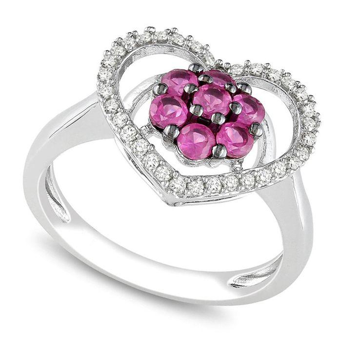 Rosa Hjärtformade Diamantringar Engagemang Med 14k Vitt Guld | Bridal Rings
