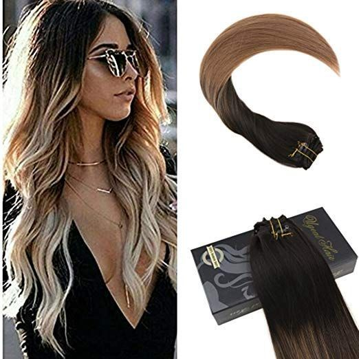 Ugeat 22inch Clip in Remy Hair Extensions Double W…