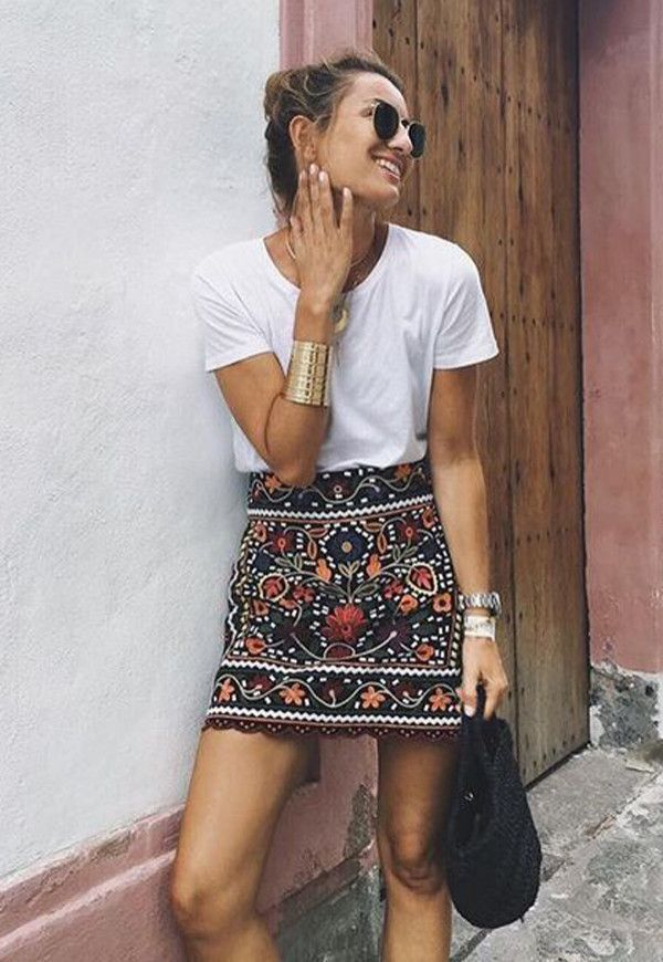 Spring 2017: Moroccan inspired skirt, arm band , white tee