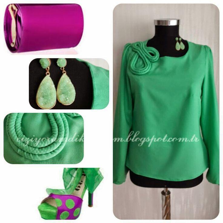 DİKTİĞİM BUGÜNÜN BLUZU (1) (TODAY'S BLOUSE (1)) #sewing #dikis #diy #kendinyap #blouses #bluzler #bluz #kadinlarkulubu #twitter #fashion #kombin #tasarim #designing #moda