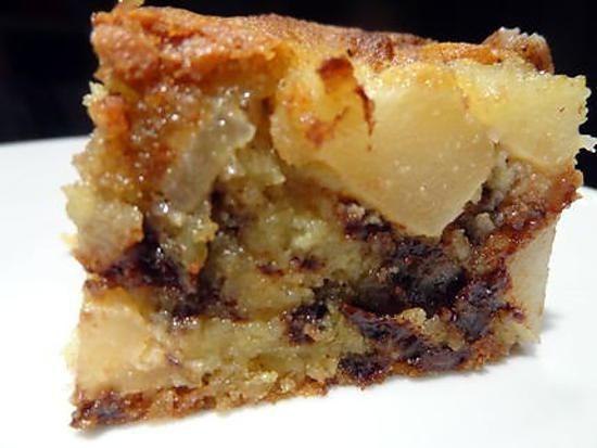 recette Gâteau poires-amande et pépites de chocolat
