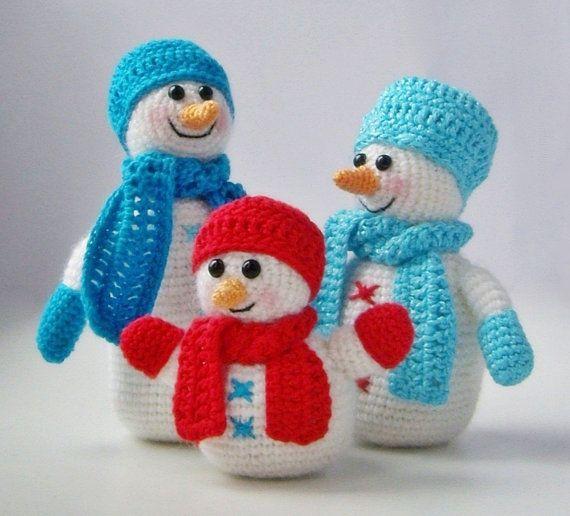 PDF PATTERN amigurumi Snowfamily (snowmen company) in crochet/ Christmas/New Year/kawaii wintery souvenier/snowmom/snowdad/snowkid