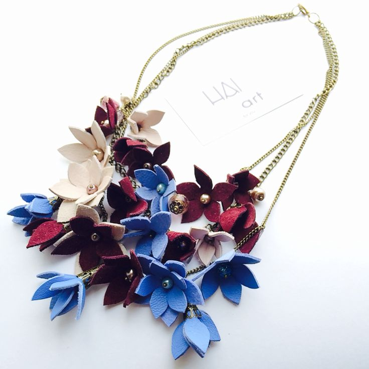 Marsala-blue leather flowers necklace  Handmade by HAIArt