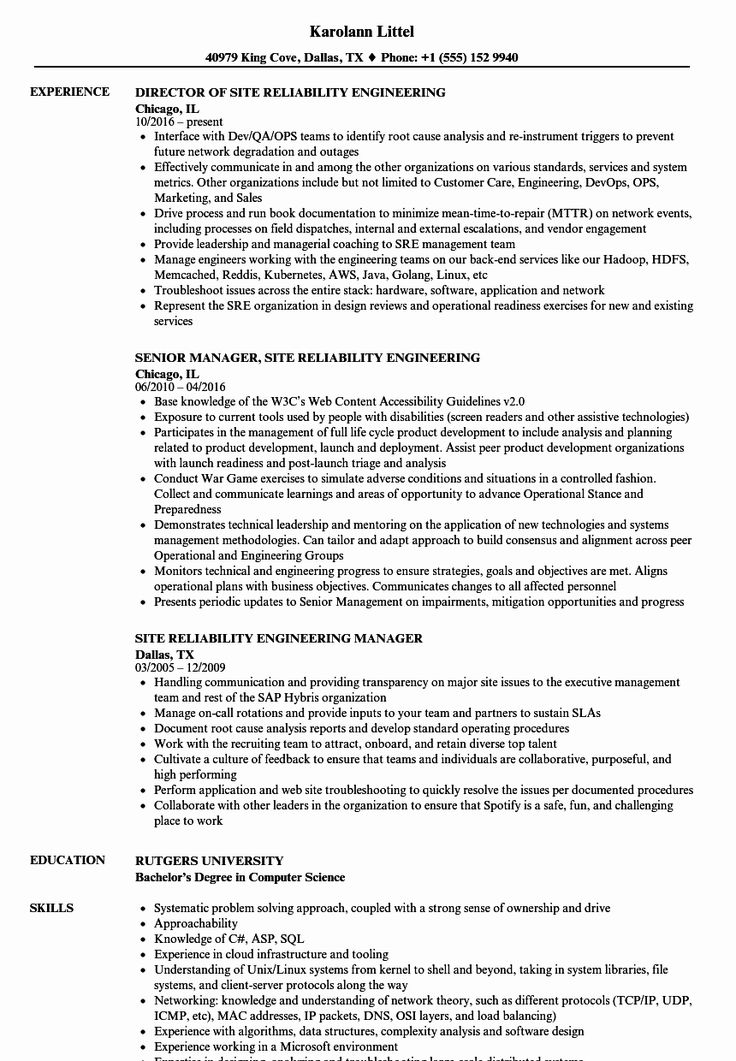 Aws cloud engineer resume best of site reliability