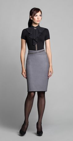 Gray Pencil Skirt Black Top Black Pantyhose and Black High Heels