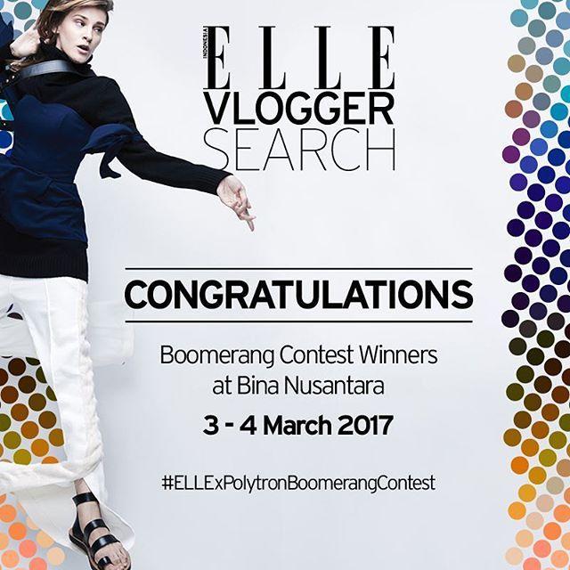 Pada acara ELLE Vlogger Search di Universitas Bina Nusantara tanggal 3-4 Maret 2017 bersama @polytron.mobile kami memilih beberapa pemenang Boomerang Contest! @monickafaradila @karenlohh @lade_richie Congrats and thank you for all the enthusiasm! Cek @elleidlive untuk melihat lebih lengkap tentang Vlogger Search dan tunggu liputan selanjutnya di Universitas Multimedia Nusantara! (Sr. Beauty & Health Writer @glamorockgal ) #ellexpolytronboomerangcontest #ellexprime7s #ELLEVloggerSearch…