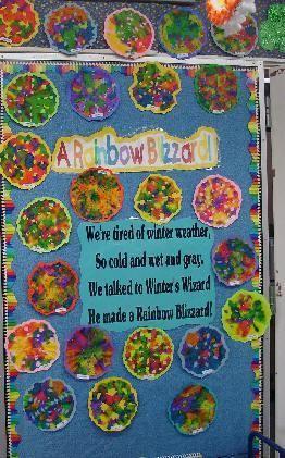 Preschool March Spring Rainbow Bulletin Board Idea