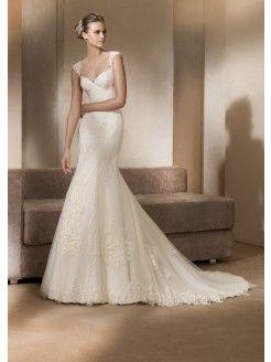 A-line Straps V-neck Organza Wedding Dress