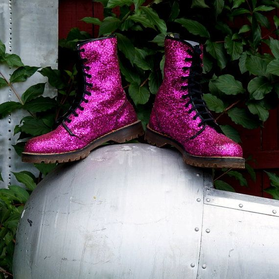 Magenta Glitter Dr Martens 90s Glam Boots Pink Sparkle Uk 10 Vegan Ten (10) Eye Euro Trash Punk Bouncing Air Wair Soles Docs Made in England on Etsy, $389.99