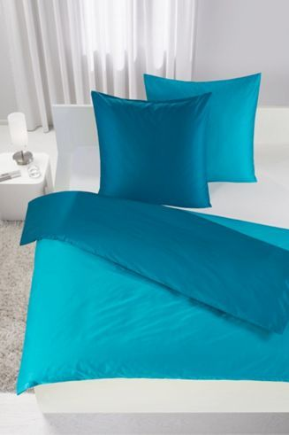 bettw sche aus 100 baumwolle in der farbe t rkis b l ca 200 200cm und 2x80 80cm wie man. Black Bedroom Furniture Sets. Home Design Ideas