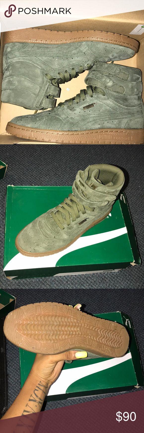 Pumas Sky II Hi NBK Womens  Burnt Olive & Gold  Pumas Puma Shoes Sneakers