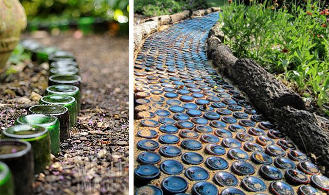 recycled glass bottles as garden path - this site has some really cute repurposing ideas...
