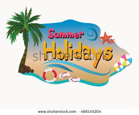 Summer holidays poster with beach attribute and coconut tree, Summer…