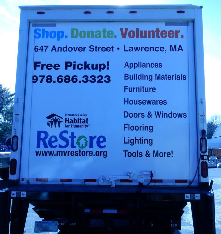 If you are behind our truck you will know who we are, what we want and where to find us.  Come in in to Shop. Donate. Volunteer.  Thank you to General Truck Center, Elwell Design, Wrap Solutions and every who worked behind the scenes to make the Merrimack Valley Habitat for Humanity ReStore more efficient.  #MVReStore #MVHH #ShopMVReStore #HabitatReStore #shoplocal #LawrenceMA #restorenation