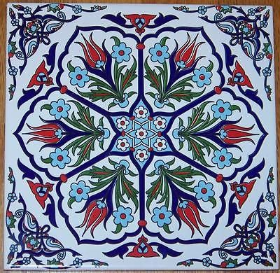 "Ottoman Iznik 6 Tulip Design 8""x8"" (20cm) Turkish Ceramic Tile Trivet Hot Plate"