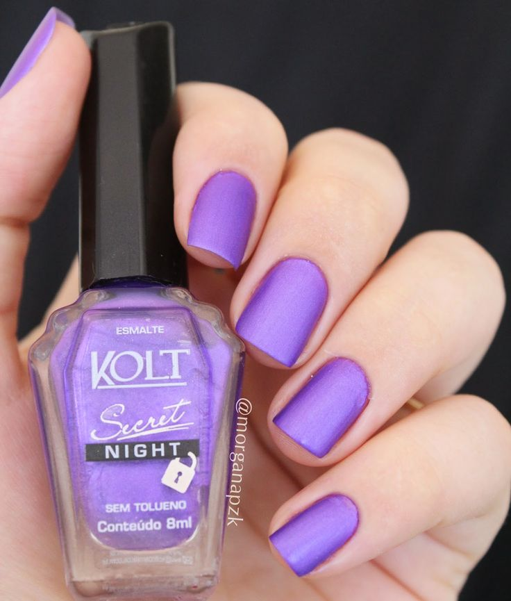 Matte nails. Purple nail art. Nail design. Polishes. Polish. Unhas roxas e foscas. Ousada, da coleção Secret Night da marca Kolt. By @morganapzk