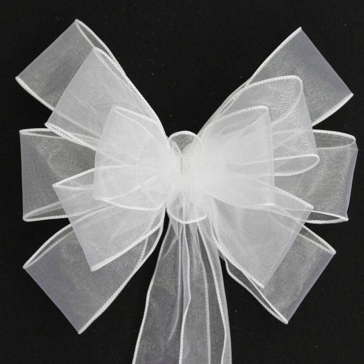 White Sheer Wedding Pew Bows