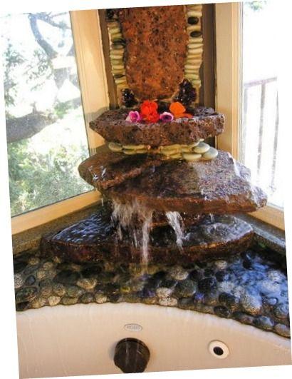 Bathroom Design. Waterfall Tropical Bathroom Designs Bathroom Designs With Water Feature Two Styles in One Room of Bathroom Design Private Bathroom Design With Double Shower Over Bathtub. Small Blue Bathroom Designs. Gold Tropical Faucets For Bathroom Designs.