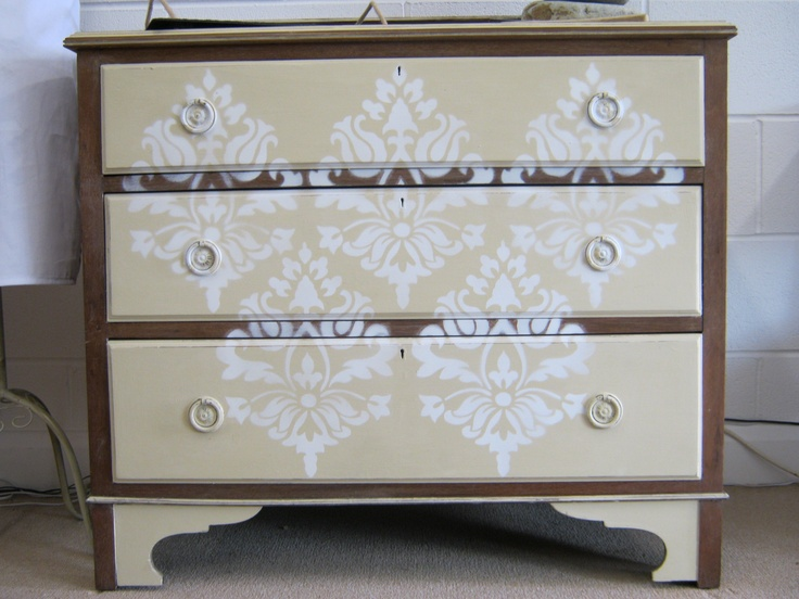 Painted with a damask stencil drawers, also has a mother of pearl inlay to the rear of the drawers.