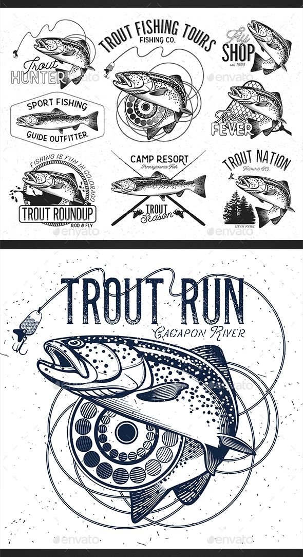Trout Fishing by Moloko1988 Vintage trout fishing emblems, labels and design elements