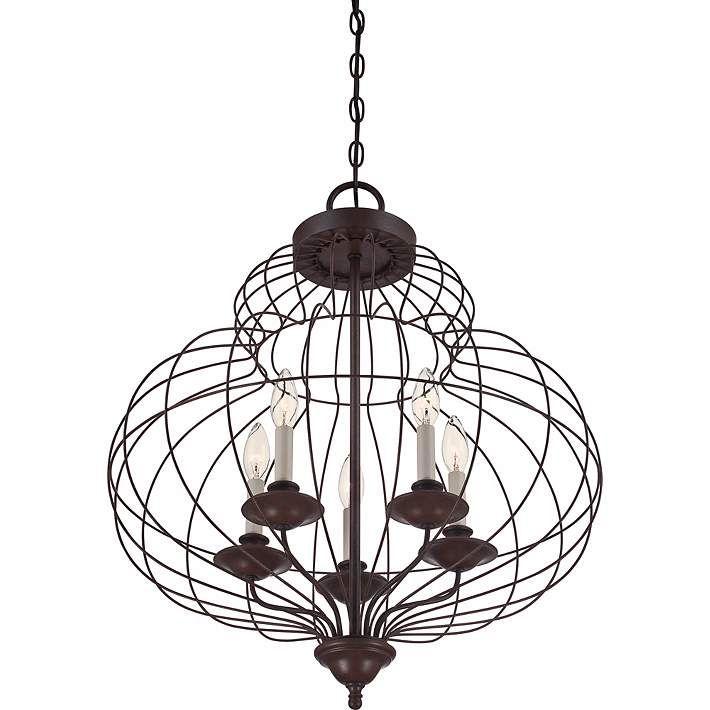 Quoizel Laila 5-Light Antique Bronze Pendant - #3K939 | Lamps Plus