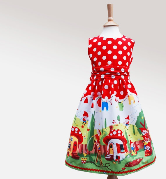 Little girls party dress gnome print by wildthingsdresses on Etsy, $67.00: Party Dresses, Girl Parties, Party'S Dresses, Wild Things, Parties Dresses, Dresses Gnomes, Little Girls Parties, Girls Gnomes, Gnomes Prints