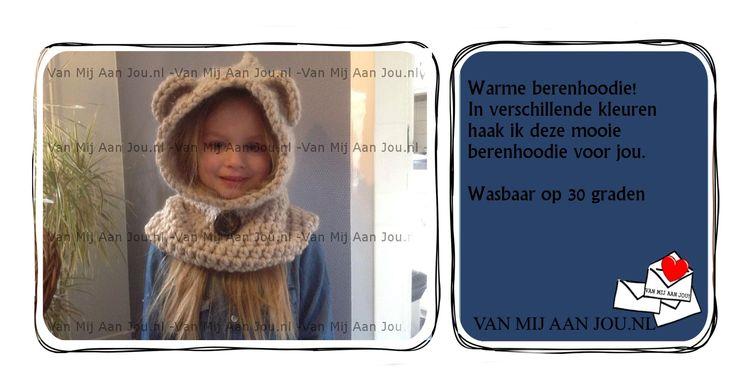 baby peuter kleuter maat - voor meisjes en jongens - berenhoodie muts - muts op bestelling gehaakt - met de hand op maat en kleur gehaakt - www.vanmijaanjou.nl -