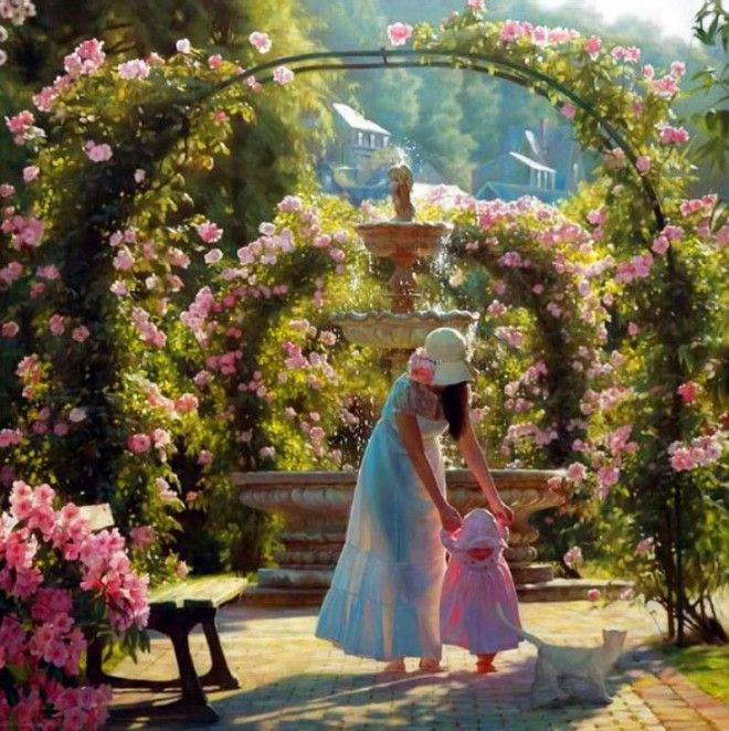 beautiful-oil-painting-by-andrei-belichenko-woman-garden-dream