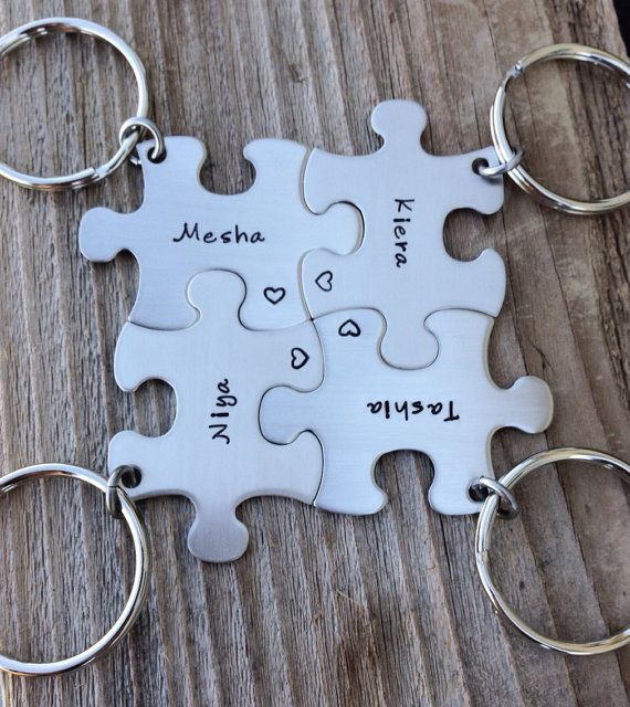Puzzle piece keychain set wedding  party gift or by CMKreations, $48.00