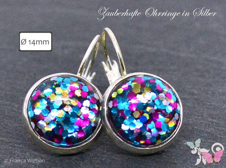 Ohrringe - Funkelnde Glitzer Ohrringe bunt Silber rund 14mm - ein Designerstück von Zauberhafte-Ohrringe-in-Silber bei DaWanda