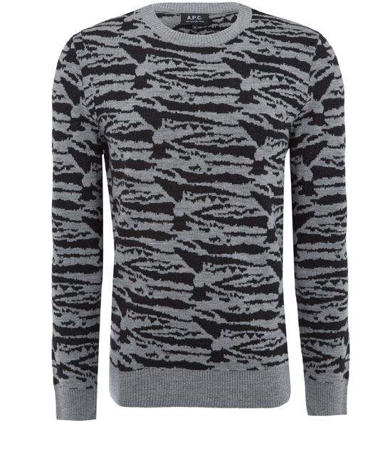 Mid grey cotton jacquard jumper from the A.P.C. collection.